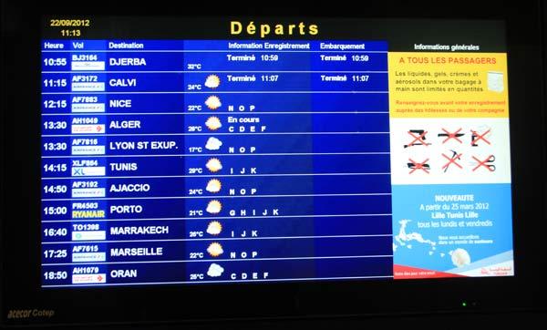 Tableau de départ des vols