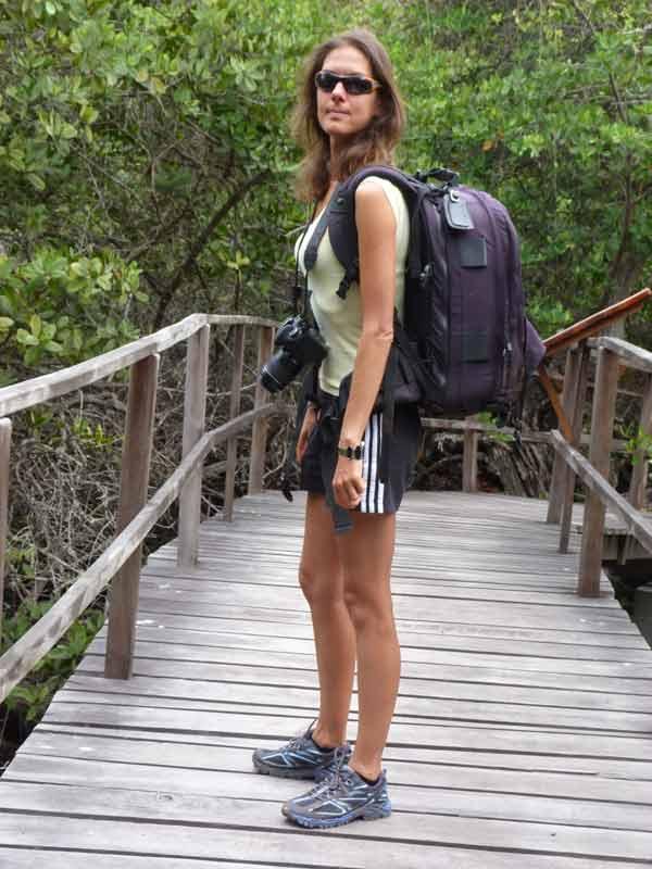 Galapagos : Nathalie à la lagune Las Ninfas