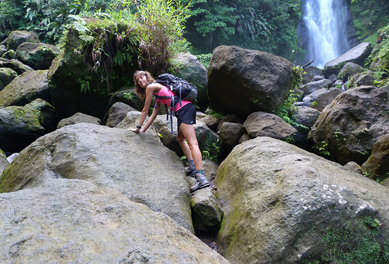 trafalgar falls escalade rochers glissants