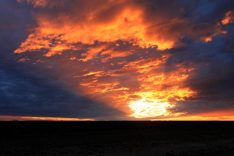 coucher de soleil argentine sur la piste