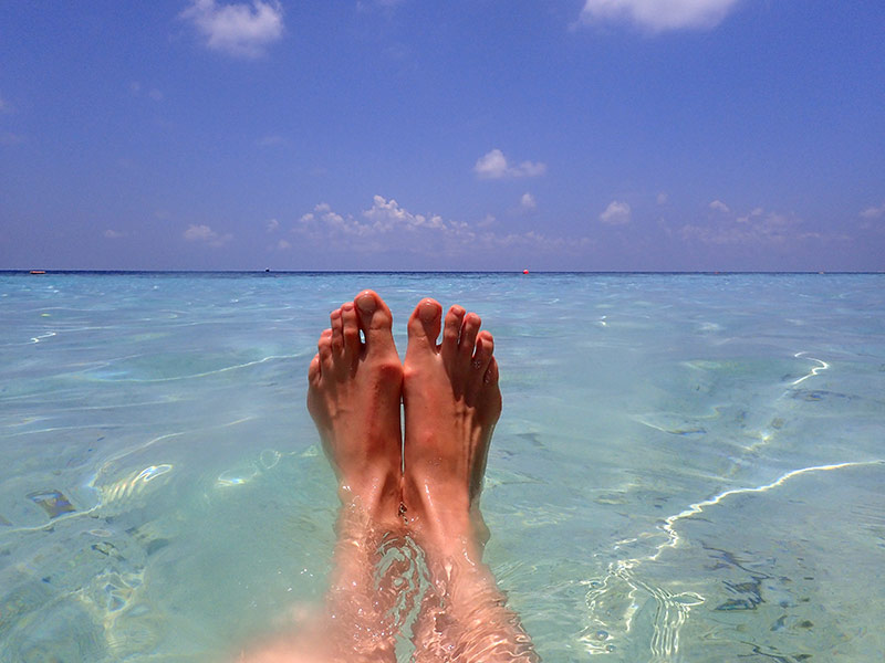 Maldives pieds nus