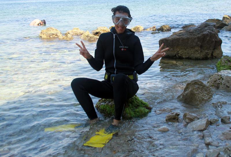 baptême de plongée palmes