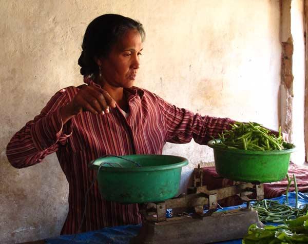 Achat de légumes au marché de Fianarantsoa