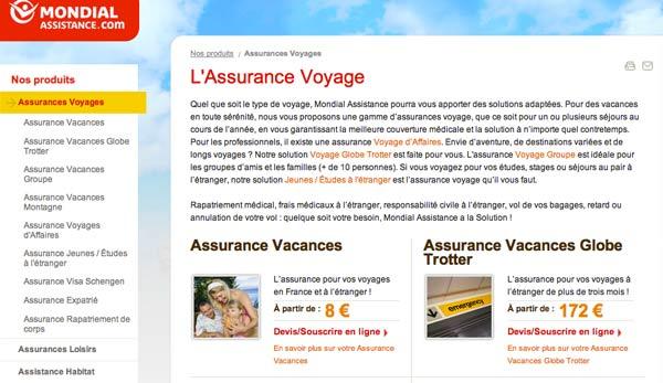 Assurance voyage Mondial Assistance