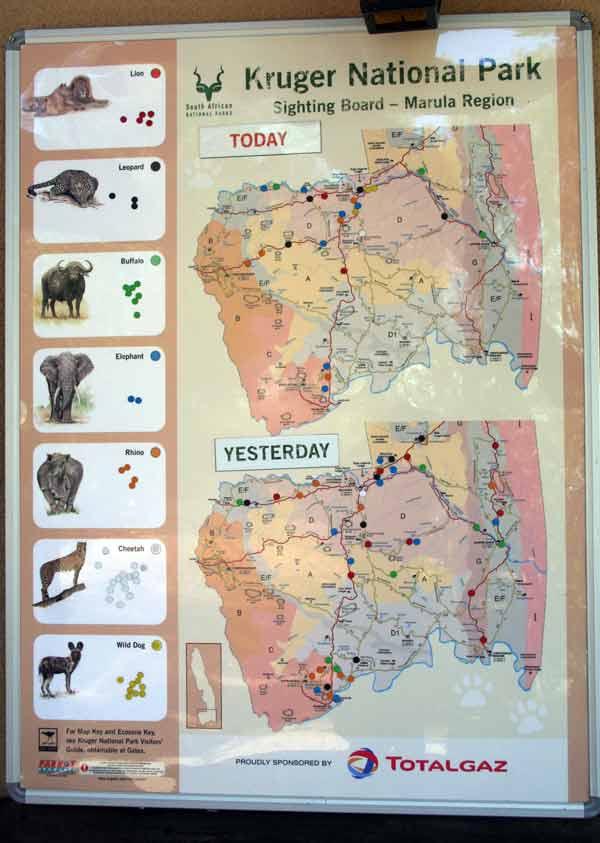 Carte de rencontre des animaux dans le parc Kruger