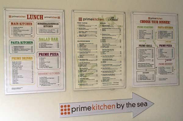 Carte du restaurant du Kamala Beach Resort