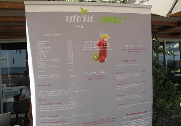 Carte du Vanille Hôtel