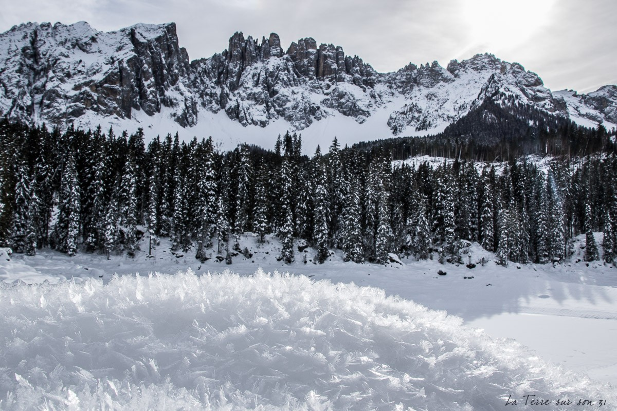dolomites hiver lac carezza