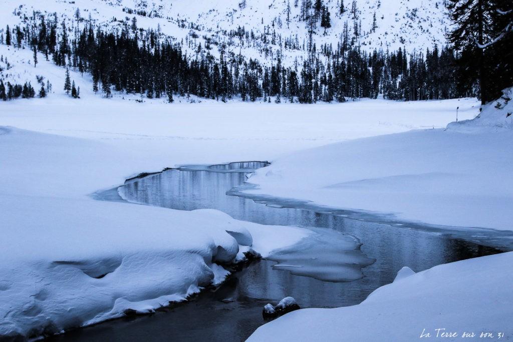 dolomites hiver lac de braies