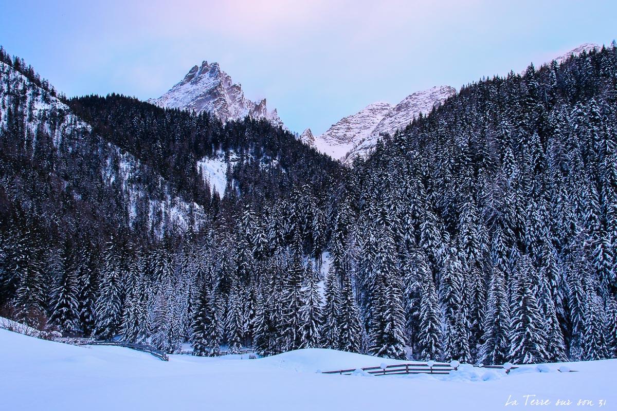 dolomites hiver lumière