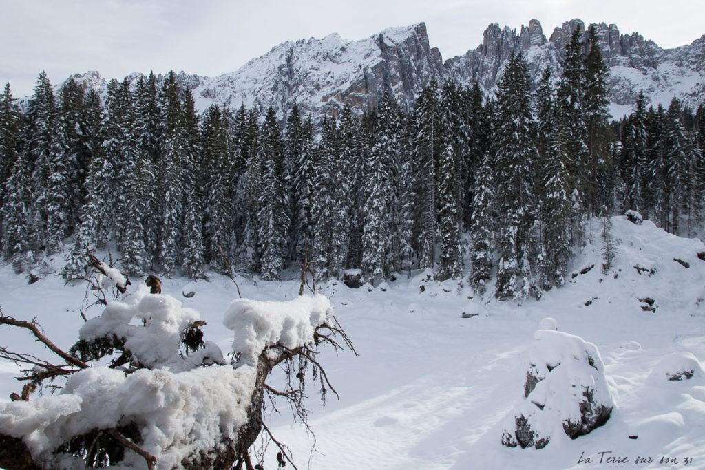 lac carezza gelé en hiver
