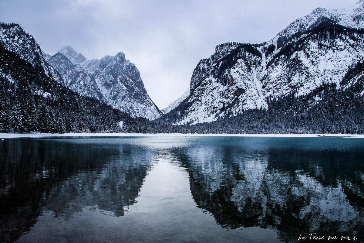 lac dobbiaco l'hiver trentin haut adige