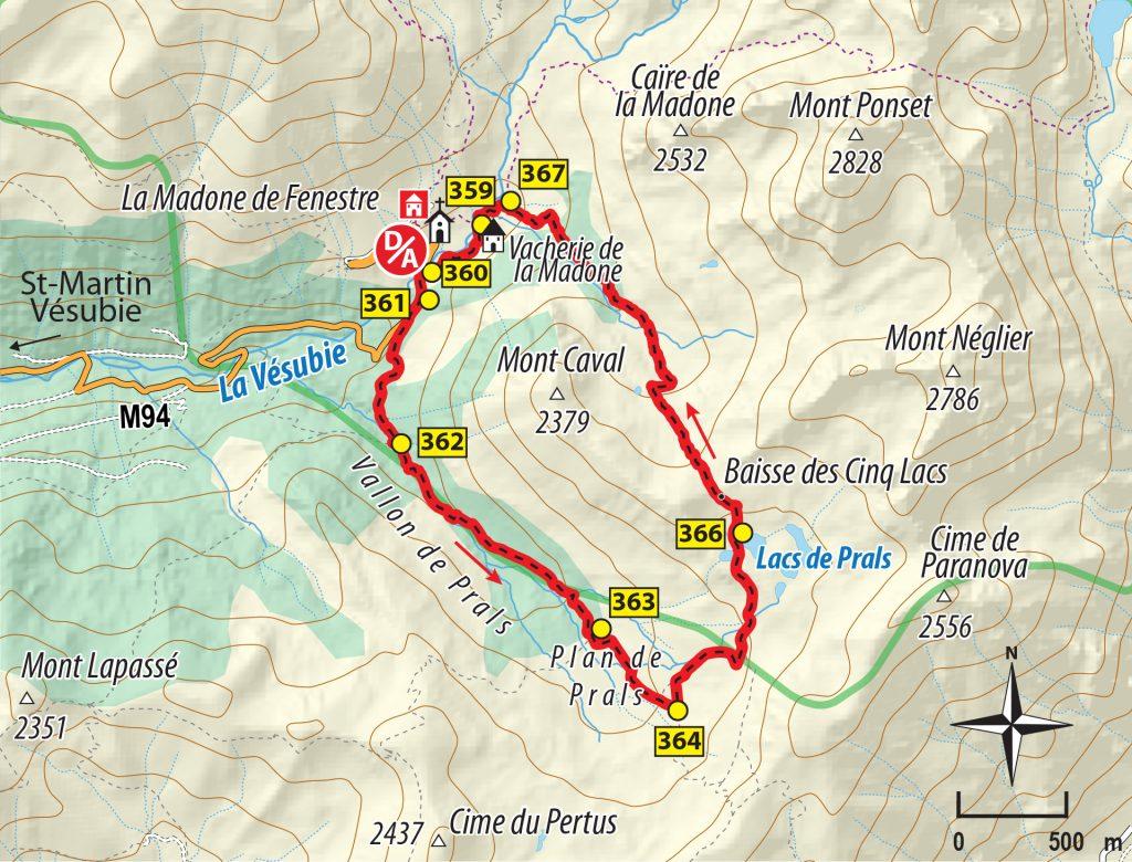 parcours randonnée lacs de prals